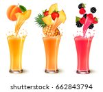 set of fruit juice splash in a... | Shutterstock .eps vector #662843794