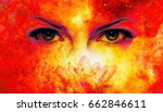 woman eyes and lotus flower in... | Shutterstock . vector #662846611