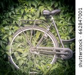 bicycle with green foliage in... | Shutterstock . vector #662847001