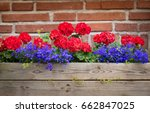 flower box with red brick wall... | Shutterstock . vector #662847025