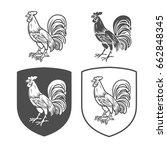 vector heraldic shields with... | Shutterstock .eps vector #662848345