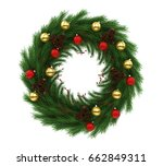 christmas wreath decoration... | Shutterstock . vector #662849311