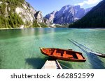 lake braies in dolomites alps ... | Shutterstock . vector #662852599