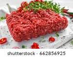 fresh raw beef minced meat with ... | Shutterstock . vector #662856925