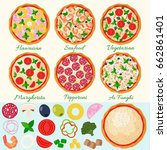 pizza set vector illustration.... | Shutterstock .eps vector #662861401