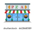 pizza shop building flat icon... | Shutterstock .eps vector #662868589