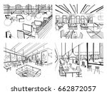 set of hand drawn coworking.... | Shutterstock .eps vector #662872057