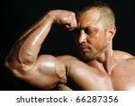 posing man bodybuilder on a... | Shutterstock . vector #66287356
