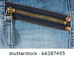 Zipped pocket of jeans - stock photo