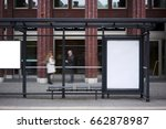 bus station billboard with... | Shutterstock . vector #662878987