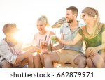 happy friends group having fun... | Shutterstock . vector #662879971