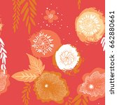 floral japan style pattern with ... | Shutterstock .eps vector #662880661