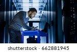 it engineer with tool cart... | Shutterstock . vector #662881945