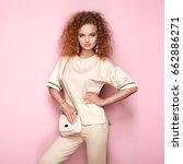 fashion portrait of woman in... | Shutterstock . vector #662886271