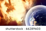 Planet with protective shield in burning space - stock photo