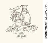 soy sauce  a bottle of soybean  ... | Shutterstock .eps vector #662897344