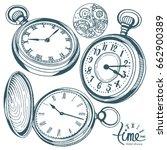 vector ink hand drawn set of... | Shutterstock .eps vector #662900389