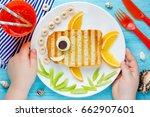 fish sandwich creative idea for ... | Shutterstock . vector #662907601