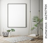 mock up poster frame in hipster ... | Shutterstock . vector #662907904