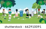 children are sweeping and... | Shutterstock .eps vector #662910091