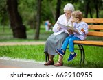young boy and great grandmother ... | Shutterstock . vector #662910955