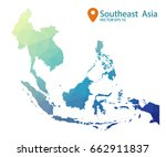 South East Asia Map   Blue...