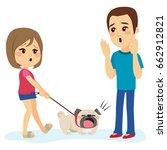 little bulldog dog pet barking... | Shutterstock .eps vector #662912821