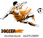 soccer player kicking ball.... | Shutterstock .eps vector #662913889