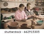 happy female teenagers...   Shutterstock . vector #662915305
