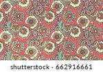psychedelic floral doodle... | Shutterstock .eps vector #662916661