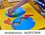 creative playing with puzzle  ... | Shutterstock . vector #662917849