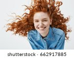 portrait of beautiful cheerful... | Shutterstock . vector #662917885