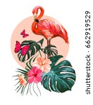 beautiful floral exotic vector... | Shutterstock .eps vector #662919529