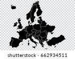 black map of europe   on... | Shutterstock .eps vector #662934511