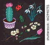 spring doodle set of flower....   Shutterstock .eps vector #662940751