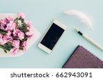 feminine flat lay on blue...   Shutterstock . vector #662943091