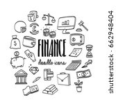 set hand drawn doodle business... | Shutterstock .eps vector #662948404