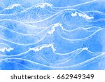 sea waves. summer watercolor... | Shutterstock .eps vector #662949349