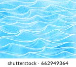 sea waves. summer watercolor... | Shutterstock .eps vector #662949364