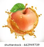 apple juice. fresh fruit  3d... | Shutterstock .eps vector #662949739