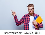 smiling young nerdy red bearded ... | Shutterstock . vector #662951011