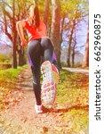beautiful woman running over... | Shutterstock . vector #662960875