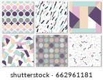 delicate set of seamless... | Shutterstock .eps vector #662961181