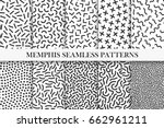 collection of memphis patterns. ... | Shutterstock .eps vector #662961211