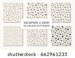 collection of seamless memphis... | Shutterstock .eps vector #662961235