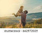 happy father and little son are ... | Shutterstock . vector #662972029