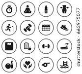 set of 16 training icons set... | Shutterstock .eps vector #662975077