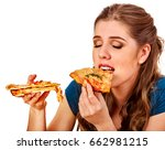 woman eating pizza. student... | Shutterstock . vector #662981215