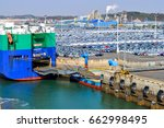 roro ship in port at the car... | Shutterstock . vector #662998495