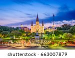 new orleans  louisiana  usa at... | Shutterstock . vector #663007879